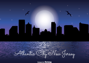 Atlantic City Night Skyline - vector gratuit #328887