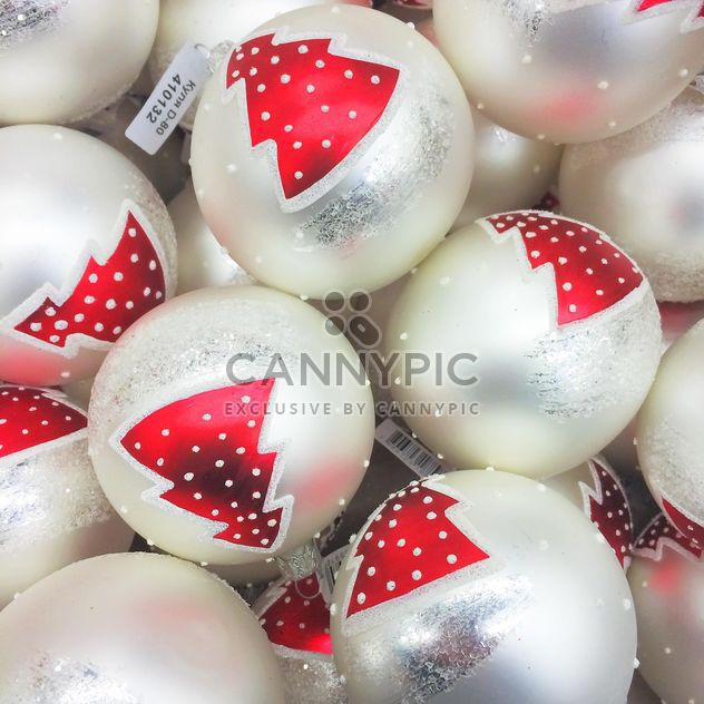 Christmas toys white balls close up - Free image #329247