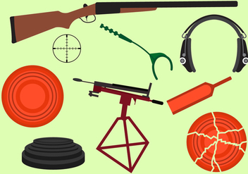 Set of Clay Pigeon Equipment - vector gratuit(e) #329397