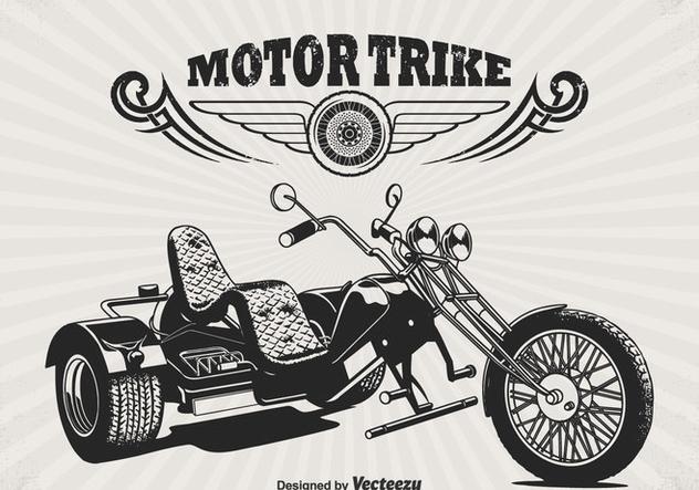 Free Retro Motor Trike Vector Poster - vector gratuit #330037
