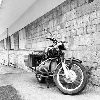 BMW motorcycle, black and white - image gratuit #331217