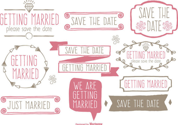 Cute Hand Drawn Style Save the Date and Wedding Label Set - Free vector #331397