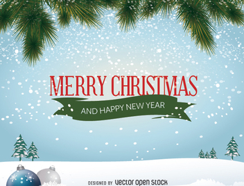 Merry Christmas winter landscape - Free vector #332727
