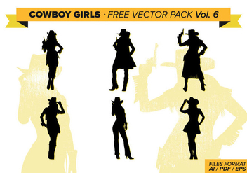 Cowboy Girls Silhouette Free Vector Pack Vol. 6 - Free vector #333987