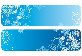 Blue Winter Christmas Banners - vector gratuit #334347
