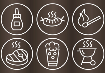Bbq Grill Outline Icons - бесплатный vector #334387