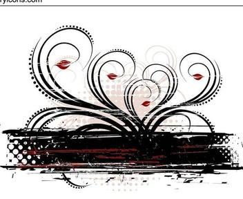 Grungy Red Black Swirling Decoration - Free vector #335637