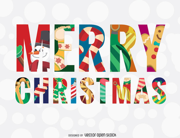 Merry Christmas colorful message - vector gratuit #335657