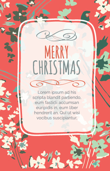 Floral Christmas design postcard - vector #335667 gratis
