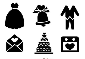 Wedding Black Icons - vector #335967 gratis