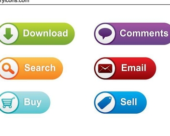 Colorful Rounded Icon Web Buttons - vector gratuit #336277