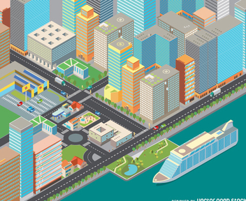 Isometric cost cityscape - Free vector #336287