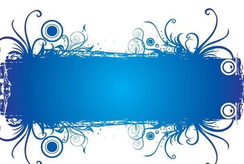 Blue Swirling Rectangle Banner - vector gratuit(e) #336477