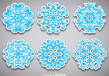 Christmas Snowflake Sticker Set - vector gratuit #336997