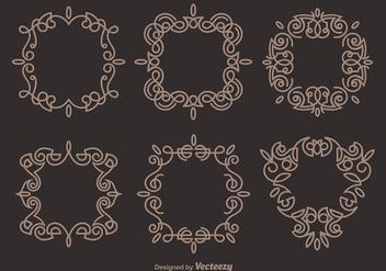 Brown Elegant Scrollwork Vectors - Free vector #337157