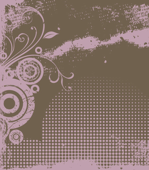 Grungy Halftones Floral Velvet Background - vector gratuit #337377