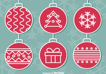 Red Vintage Christmas Ball Pack - Free vector #337397