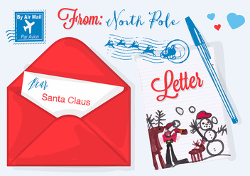 Free Vector Illustration for Christmas Letter to Santa Claus - Kostenloses vector #337697