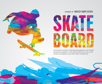Skateboard colorful pyscodelic design - vector gratuit #337767