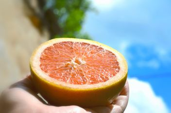 Half of grapefruit in hand - image gratuit #338307