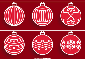 Red Ornamented Christmas Balls - vector gratuit(e) #338427