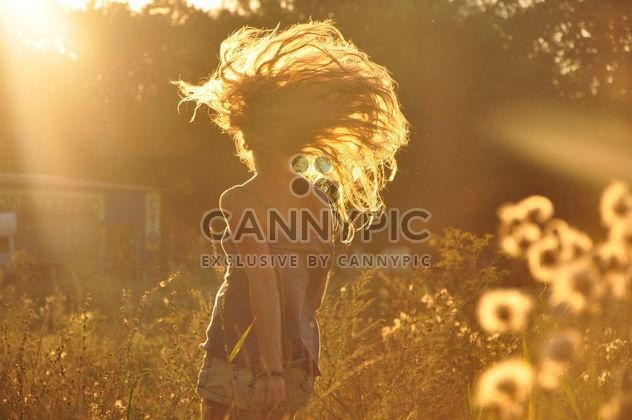 Girl in field at sunset - Free image #338567