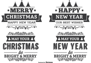 Typographic Christmas Label Set - Kostenloses vector #338817