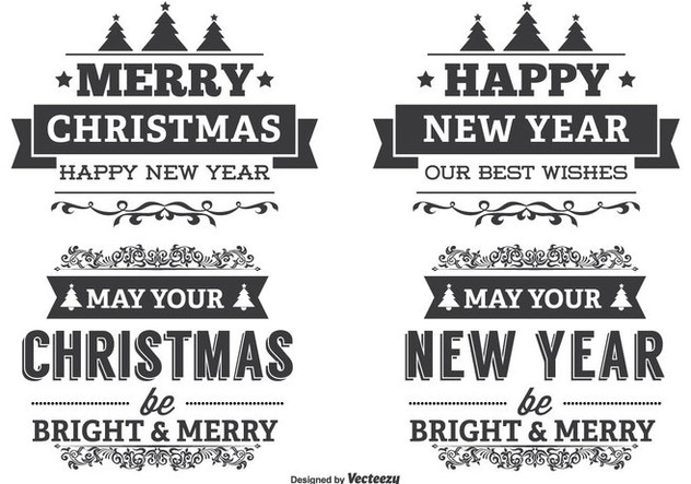 Typographic Christmas Label Set - Free vector #338817