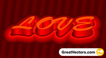 3d vector love text - vector gratuit #339587