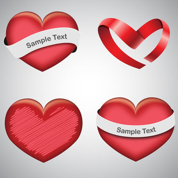 Vector Hearts With Ribbons - vector gratuit(e) #339867