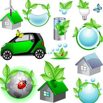 Vector Eco Icons - Kostenloses vector #340157