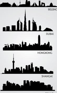 Asian Skyline Silhouettes - Free vector #341087