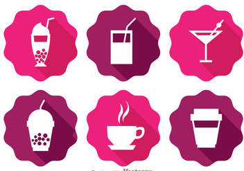 Drinks Long Shadow Icons - vector gratuit(e) #341767