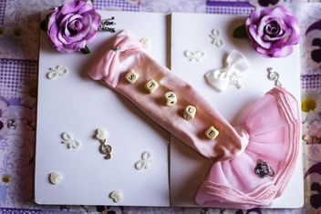 decorative still life with ribbons and flowers - Free image #342147