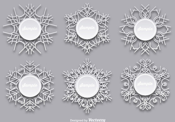 Decorative Circular Snowflake Label Set - Free vector #342407