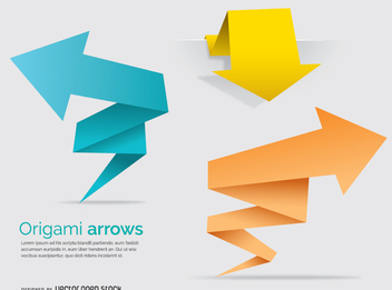 Origami polygonal arrows and banners - vector gratuit #342427