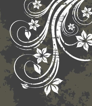 White Swirling Plant Grungy Background - vector gratuit #342807
