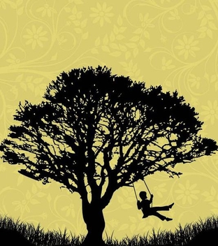 Tree Landscape Kid on Cradle - Free vector #342827