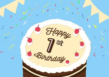 1st Birthday Vector - Free vector #343027