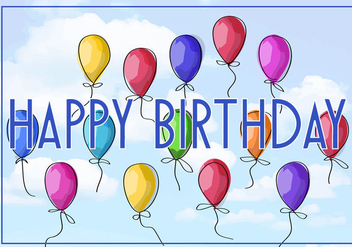 Free Vector Illustration of a Happy Birthday Greeting Card - vector gratuit #343127