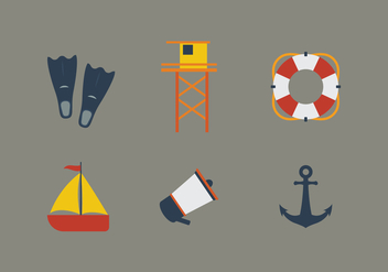 Vector Beach Illustration Set - Free vector #343177