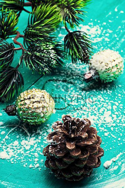Christmas toys on blue background - Free image #343547