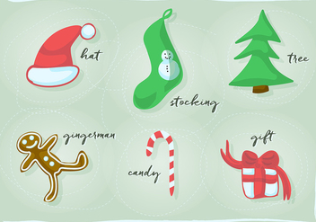 Free Christmas and New Year Retro Vector Design Element Collection - vector gratuit #343757