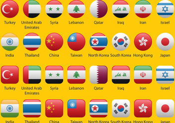 Asian Flags - vector #343787 gratis