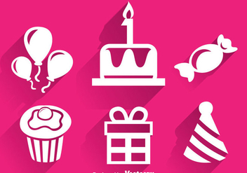 Birthday White Icons - Free vector #344317