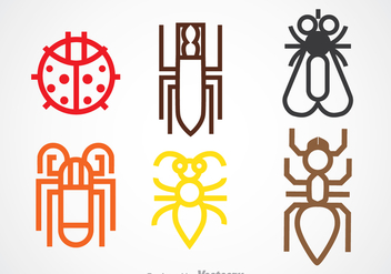 Colorful Insect Line Icons - Free vector #344327