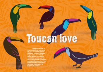 Free Set of Toucan Birds Vector Background - Kostenloses vector #345247