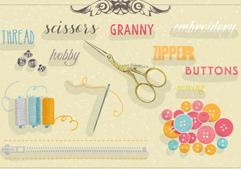 Free Set of Sewing Equipment Vector Background - бесплатный vector #345287