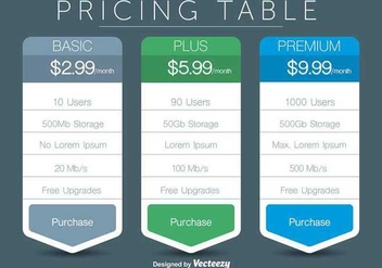Pricing Table Vectors - Free vector #345787