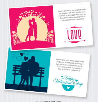 2 Valentine's postcards - Free vector #345797